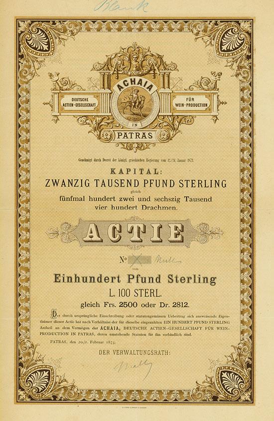 ACHAIA, Deutsche Actien-Gesellschaft für Wein-Production in Patras