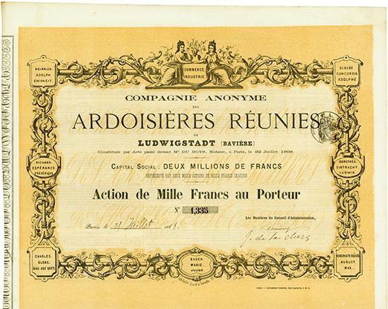 Compagnie Anonyme des Ardoisières Reunis de Ludwigstadt (Bavière)