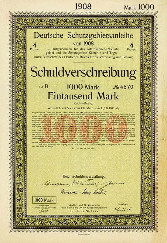 Deutsche Schutzgebietsanleihe von 1908 / 1911 / 1913 / 1914 [6 Stück]