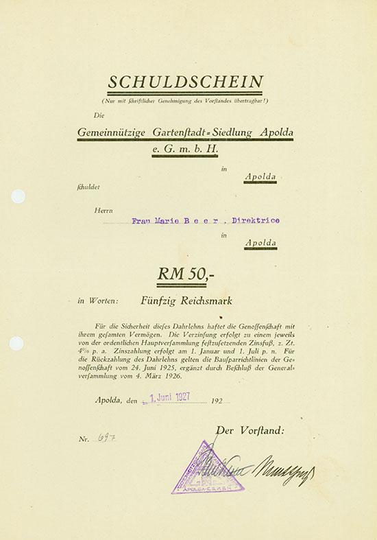 Gemeinnützige Gartenstadt-Siedlung Apolda e.G.m.b.H.