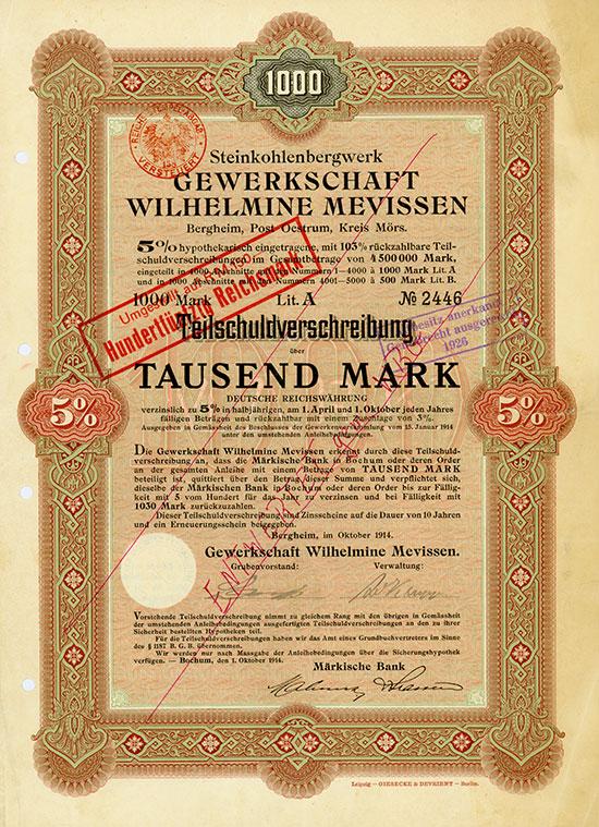 Steinkohlenbergwerk Gewerkschaft Wilhelmine Mevissen