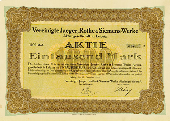 Vereinigte Jaeger, Rothe & Siemens-Werke AG