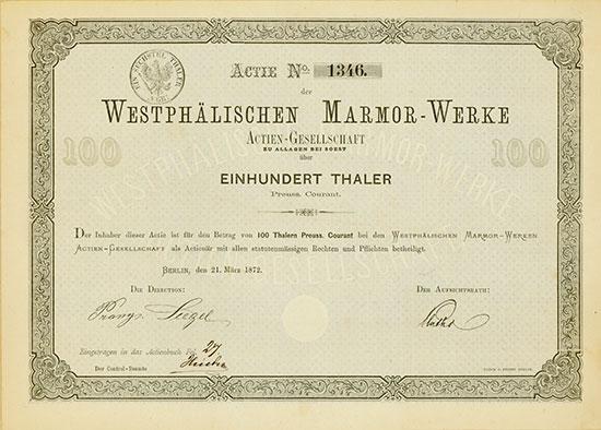 Westphälische Marmor-Werke Actien-Gesellschaft zu Allagen bei Soest