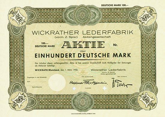 Wickrather Lederfabrik (vorm. Z. Spier) AG