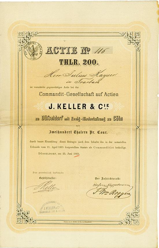 Commandit-Gesellschaft auf Actien J. Keller & Cie. zu Düsseldorf mit Zweig-Niederlassung zu Cöln