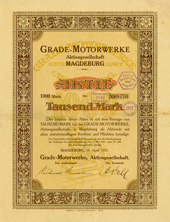 Grade-Motorwerke AG [2 Stück]