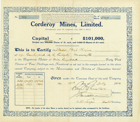 Corderoy Mines, Limited