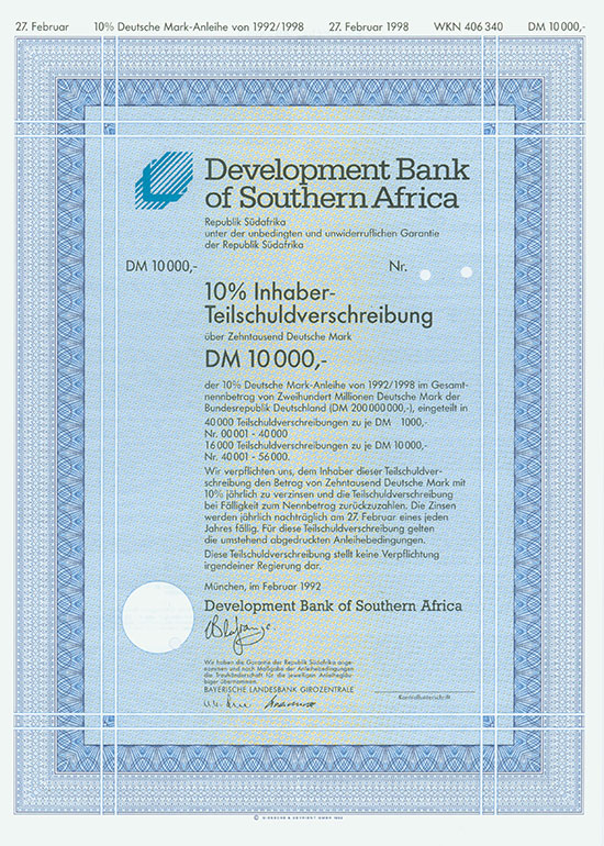 Republik Südafrika - Development Bank of Southern Afrika [2 Stück]