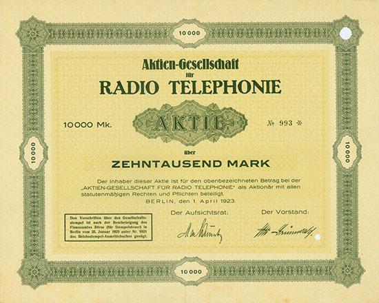 Aktien-Gesellschaft für Radio Telephonie