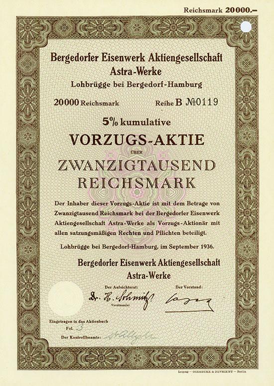 Bergedorfer Eisenwerk Aktiengesellschaft Astra-Werke