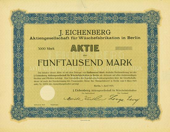 J. Eichenberg Aktiengesellschaft für Wäschefabrikation in Berlin