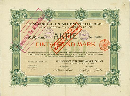 Kunstanstalten AG vormals Adolf May und Müller & Lohse
