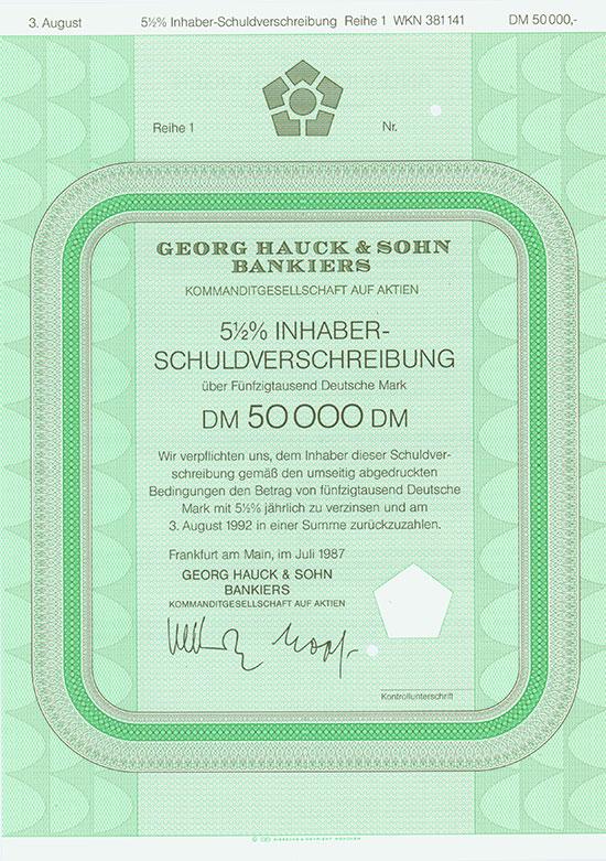 Georg Hauck & Sohn Bankiers KGaA [4 Stück]