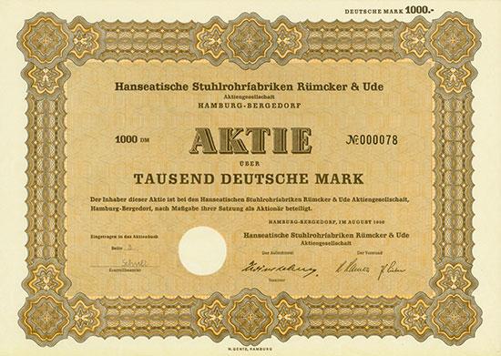 Hanseatische Stuhlrohrfabriken Rümcker & Ude AG [2 Stück]