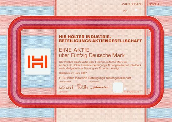 HIB Hölter Industrie-Beteiligungs AG [3 Stück]