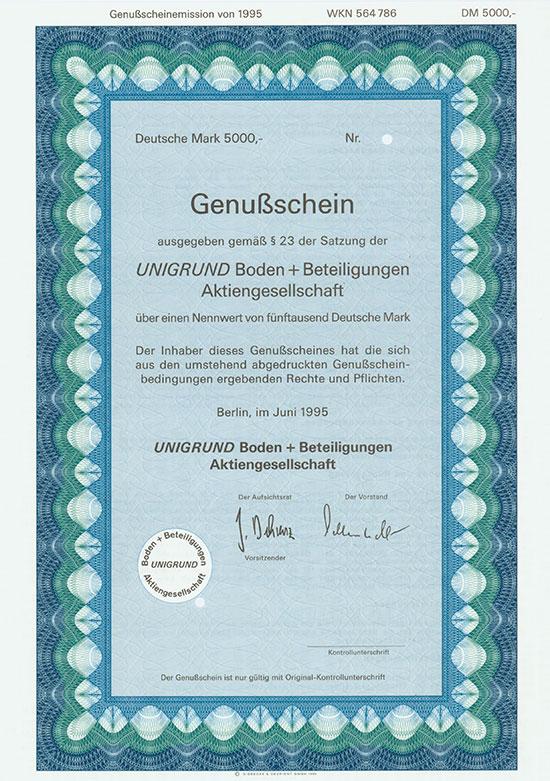 UNIGRUND Boden + Beteiligungen AG [3 Stück]