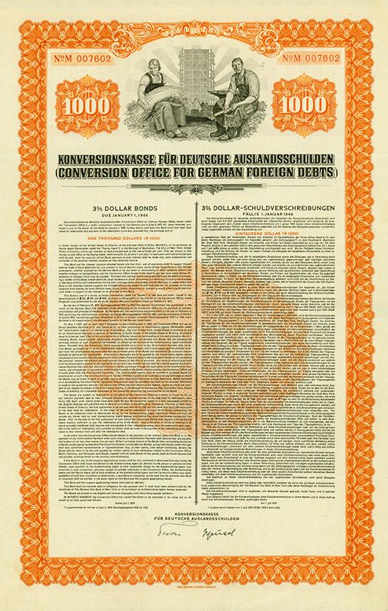 Konversionskasse für Deutsche Auslandsschulden (Conversion Office for German Foreign Debts) [6 Stück]