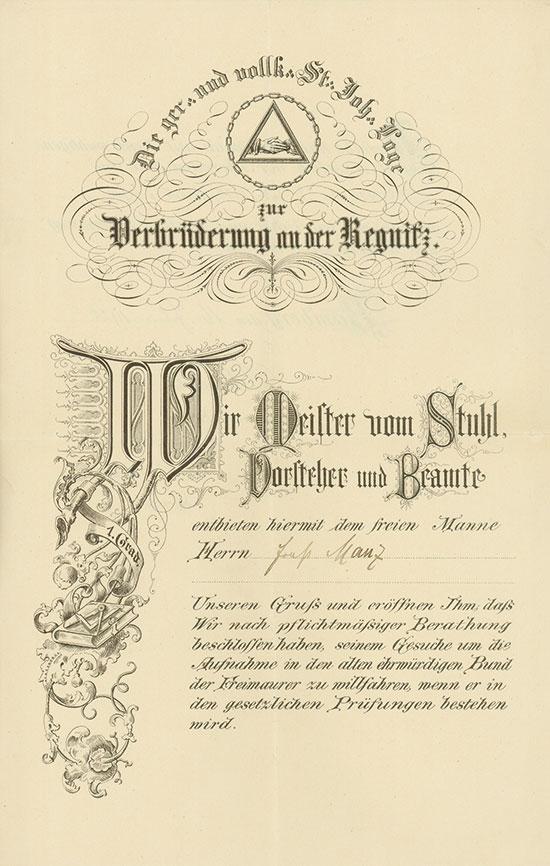 St. Johannis-Loge zur Verbrüderung a. d. Regnitz im Or. Bamberg [18 Stück]