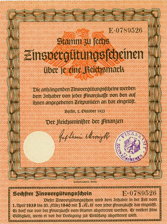 Deutsches Reich - Zinsvergügungsscheine [4 Stück]