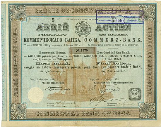 Rigaer Commerzbank / Banque de Commerce de Riga / Commercial Bank of Riga