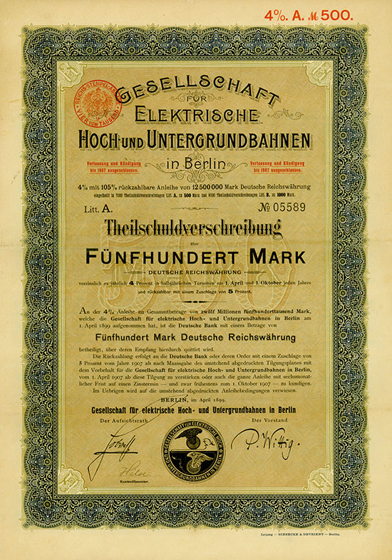 Gesellschaft für elektrische Hoch- und Untergrundbahnen in Berlin
