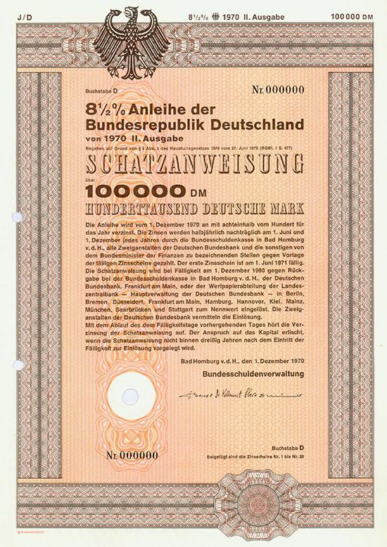 Bundesrepublik Deutschland - Schatzanweisungen [95 Stück]