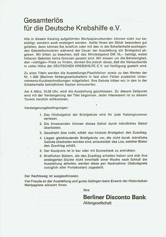 Berliner Disconto Bank AG - 1. Auktionskatalog