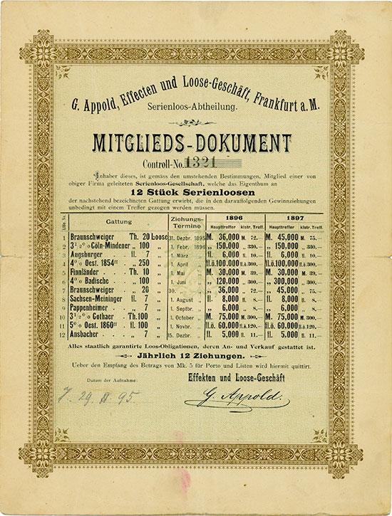 G. Appold, Effecten und Loose-Geschäft, Frankfurt a. M.