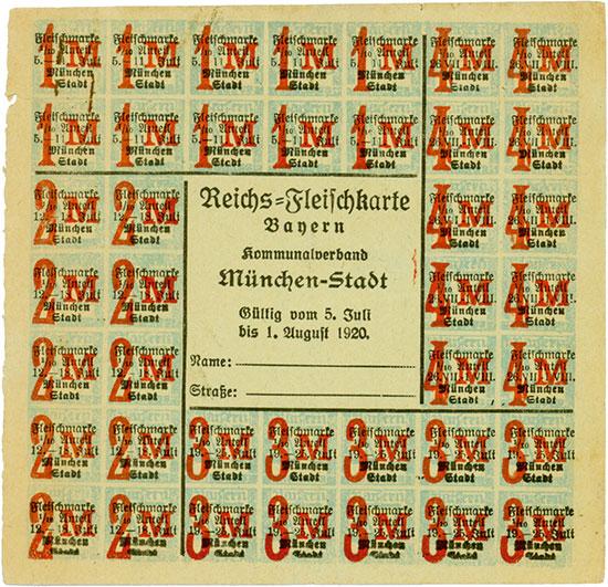 Kommunalverband München-Stadt / Reichs-Fleischkarte Bayern
