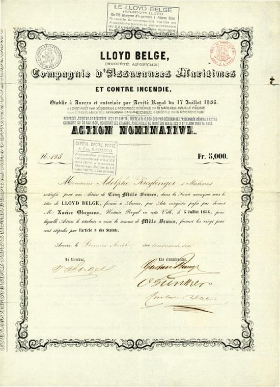 Lloyd Belge (Socété Anonyme) Compagnie d'Assurances Maritimes