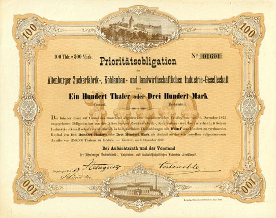 Altenburger Zuckerfabrik-, Kohlenbau- und landwirthschaftliche Industrie-Gesellschaft