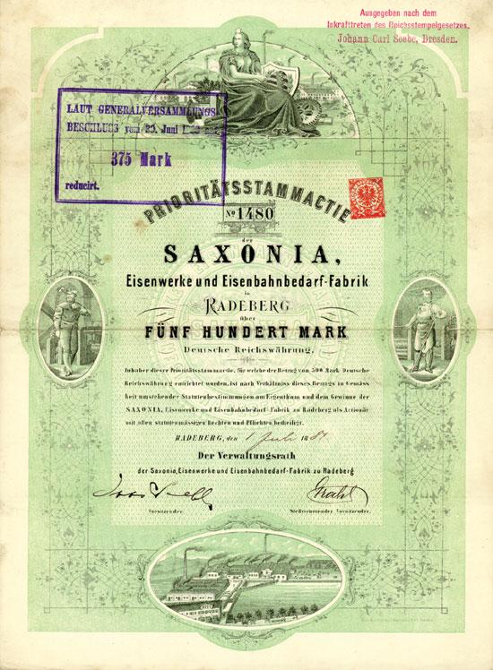 SAXONIA, Eisenwerke und Eisenbahnbedarf-Fabrik in Radeberg