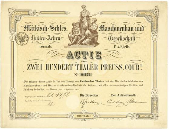 Märkisch-Schlesische Maschinenbau- und Hütten-Actien-Gesellschaft vormasl F. A. Egells
