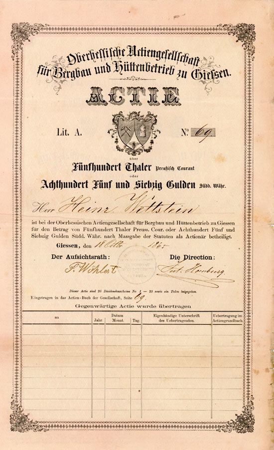 Oberhessische Actiengesellschaft für Bergbau und Hüttenbetrieb zu Gießen