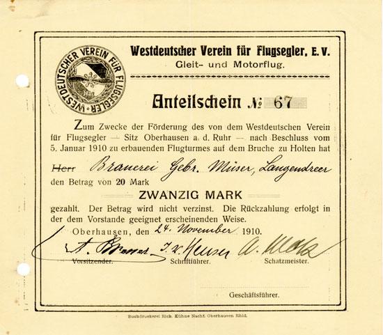 Westdeutscher Verein für Flugsegler e. V. Gleit- und Motorflug