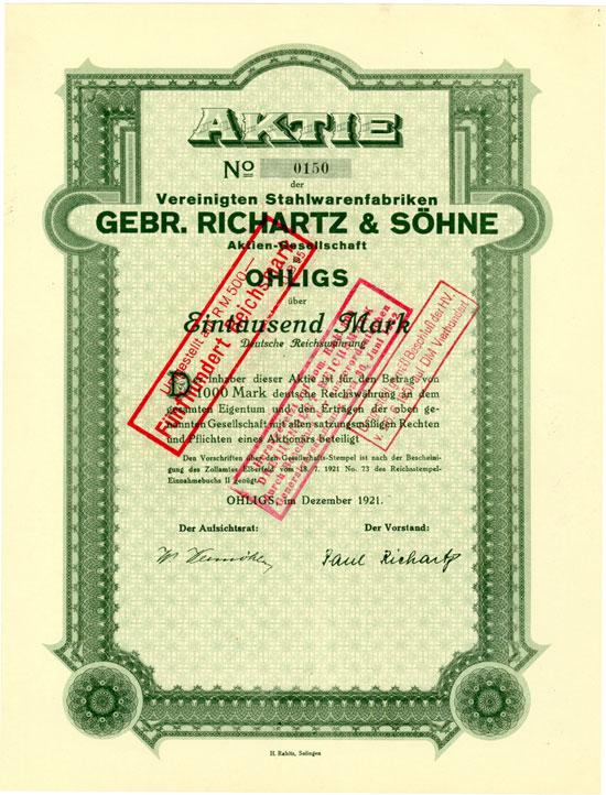 Vereinigte Stahlwarenfabriken Gebr. Richartz & Söhne AG